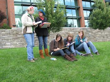 students in lab activity on Sanford Mall