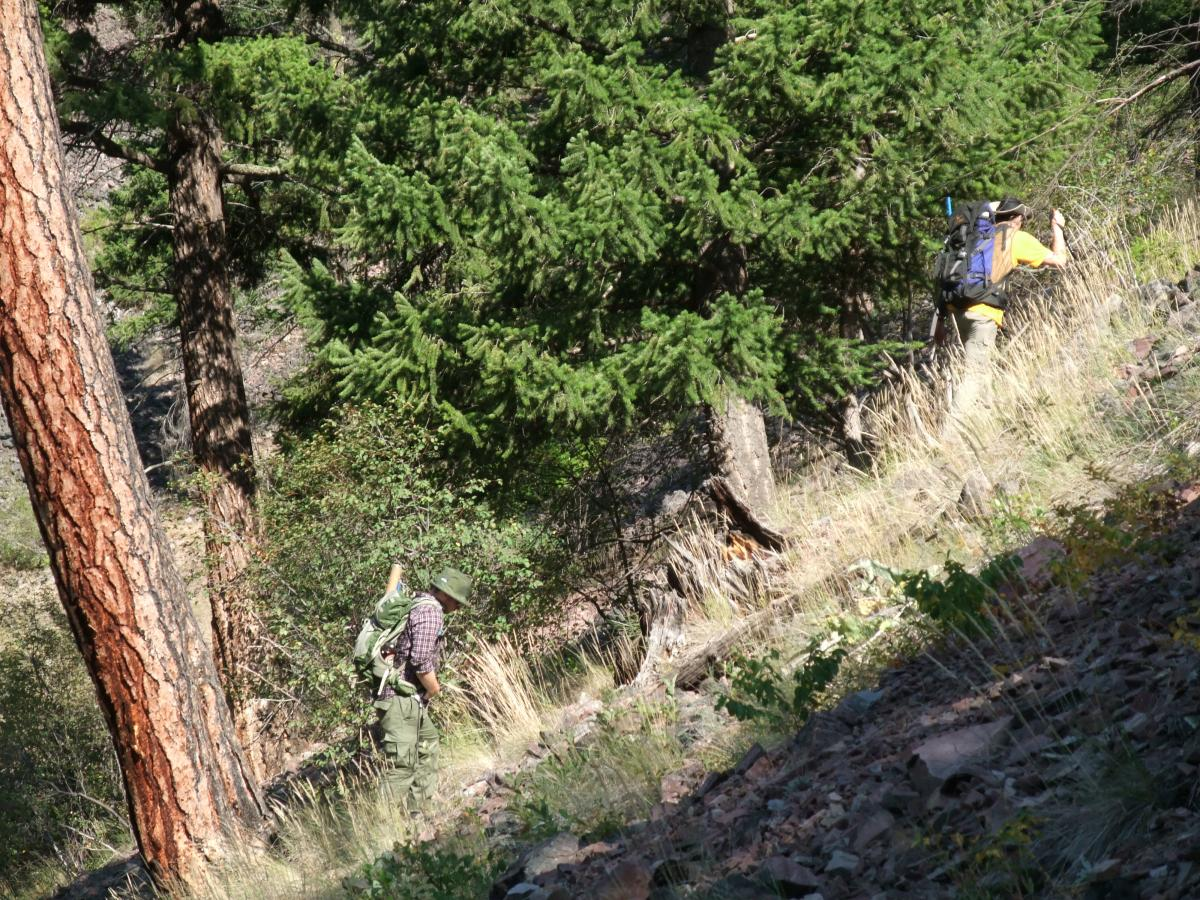 Photo 6: Pete and Phil hiking some steep terrain at Rock Creek East.