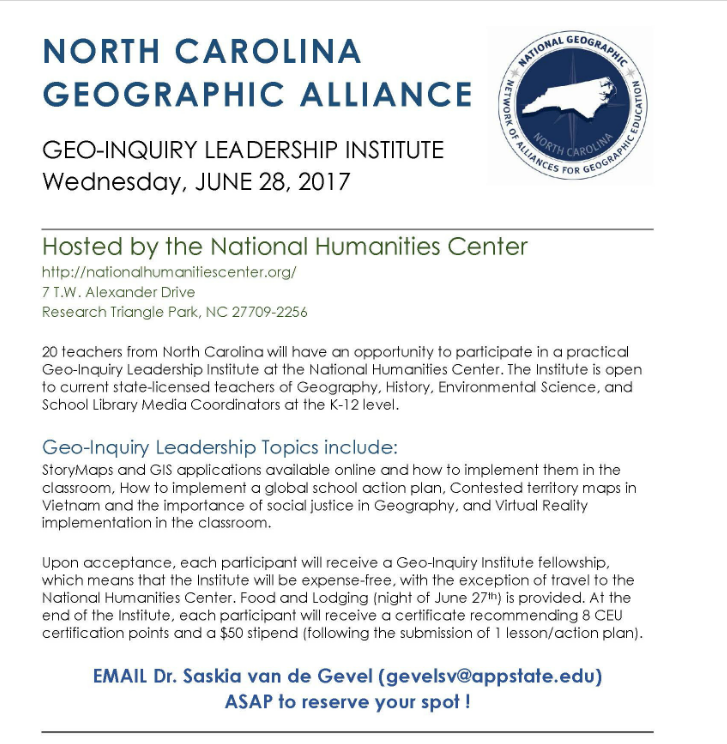 June 28, 2017, hosted by the National Humanities Center in RTP, NC, contact gevelsv@appstate.edu for more information